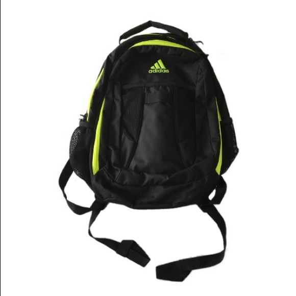 93d674d8288 adidas Bags   Neon Yellow Trim Black Book Bag Backpack   Poshmark